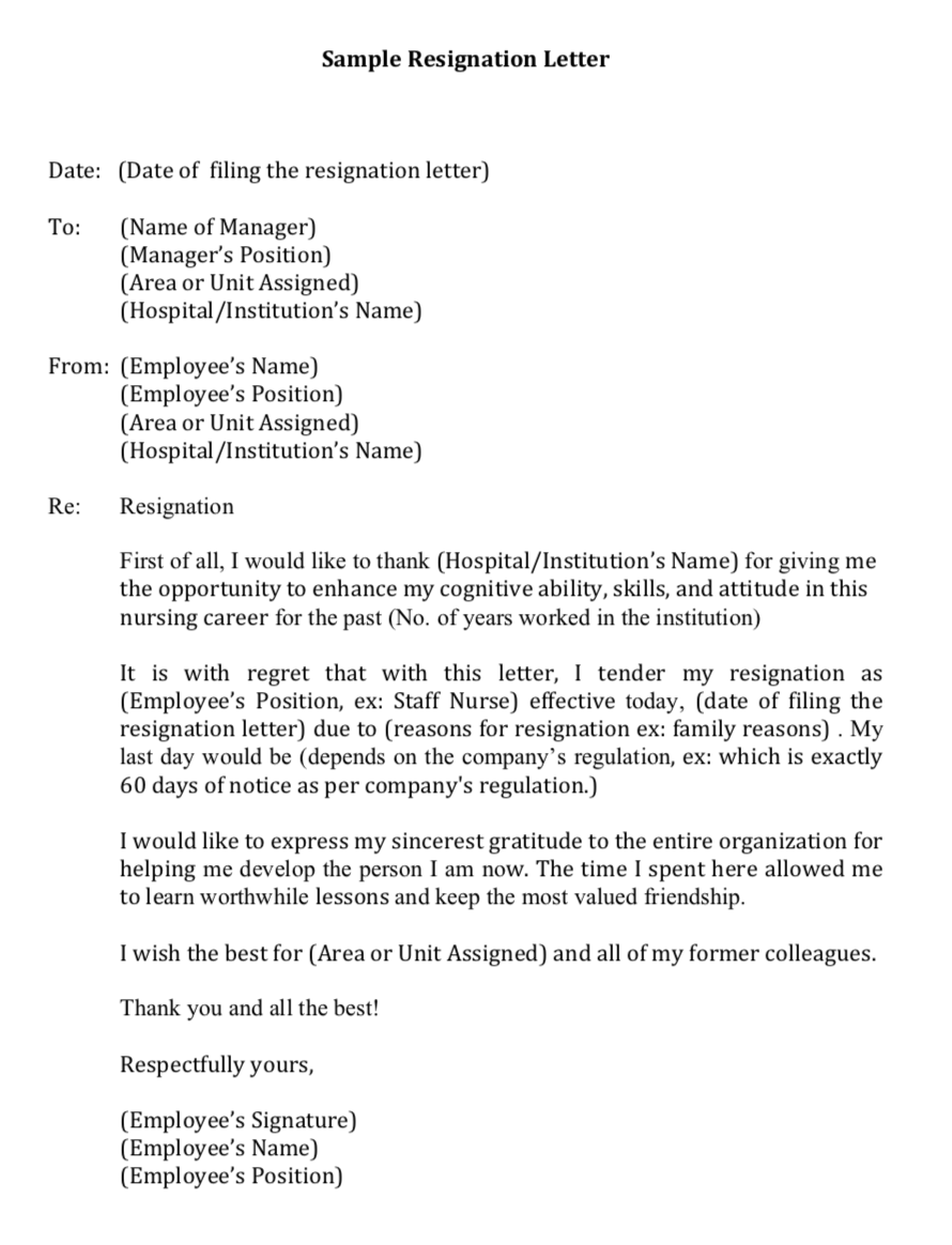 Registered Nurse Resignation Letter from tobringtogether.com