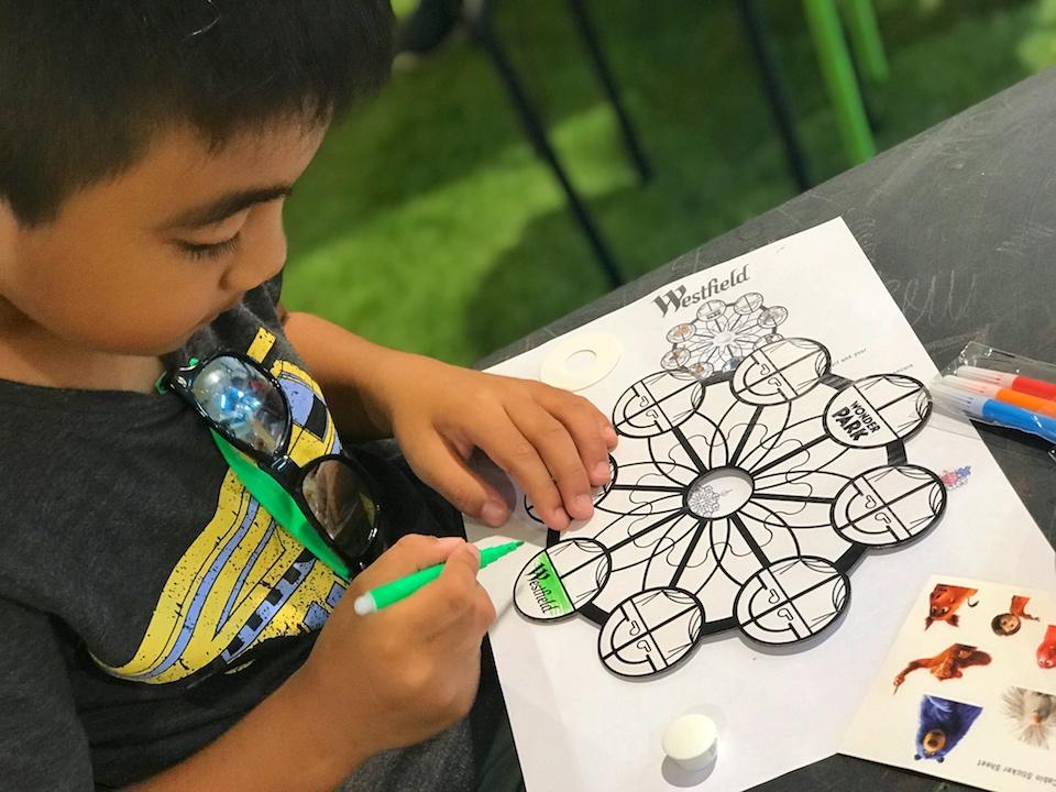 Wonder Park craft activity at Westfield, 2019